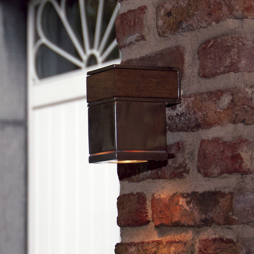 contemporary wall light / outdoor / stainless steel / teak