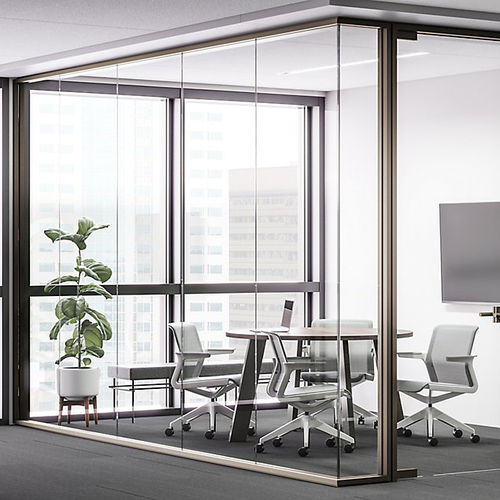 fixed partition / glass / for offices / frameless