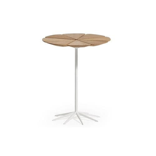 contemporary pedestal table / polyurethane / teak / round
