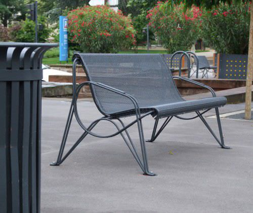 public bench / contemporary / metal / with backrest