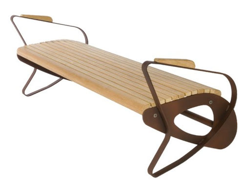 Public bench / contemporary / wooden / metal ALL by Gherardo Pertile GUYON
