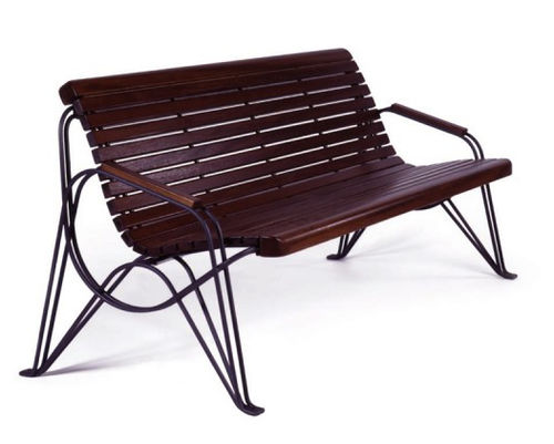 public bench / traditional / wooden / metal