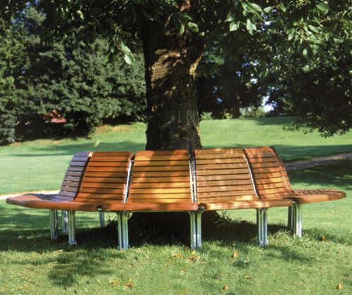 Wooden tree guard / with integrated public bench CONTOUR : 327 – 328 – 329 – 330 GUYON