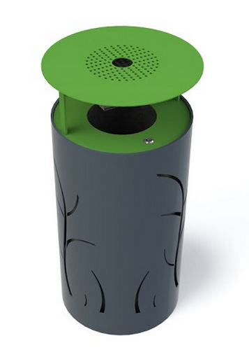 Public trash can / metal / with built-in ashtray / contemporary FLOREA GUYON