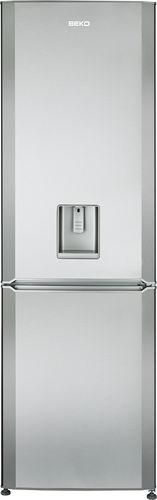upright refrigerator-freezer / stainless steel / with water dispenser / bottom freezer