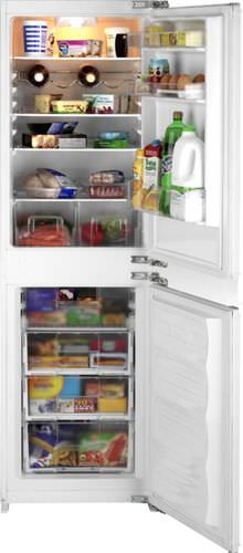 upright refrigerator-freezer / white / built-in / bottom freezer