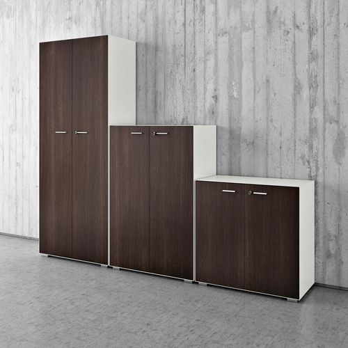 low filing cabinet / tall / melamine / with hinged door