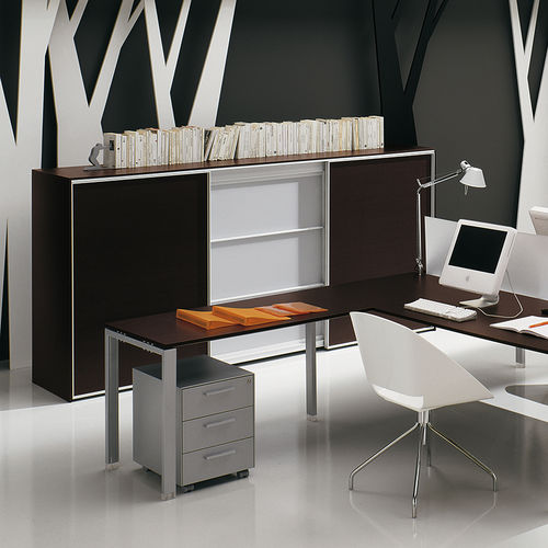 low filing cabinet / tall / wood veneer / aluminum