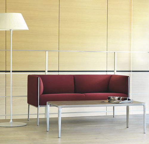 contemporary sofa / fabric / leather / aluminum