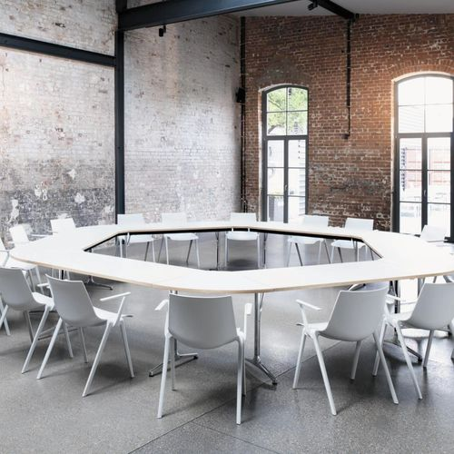 contemporary conference table / wooden / laminate / metal