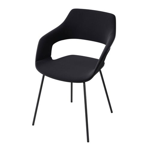 contemporary conference chair / stackable / upholstered / metal