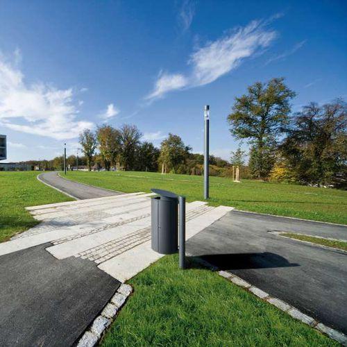 Public trash can / galvanized steel / contemporary CARPO Hess GmbH Licht + Form