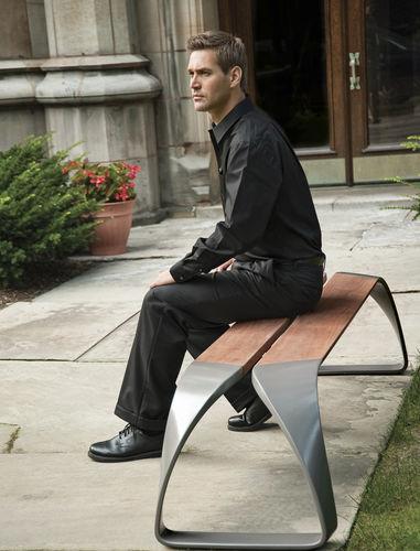 Public bench / contemporary / wooden / metal METRO40 : REST by BMW Group DesignWorksUSA landscapeforms