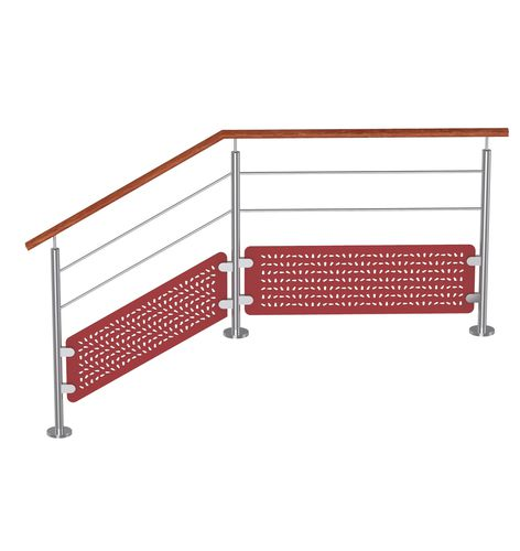 composite railing / with panels / outdoor / for balconies