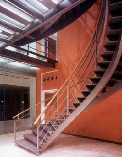 circular staircase with a lateral stringer for commercial buildings (metal frame and steps) by Aukett Limited Hubbard