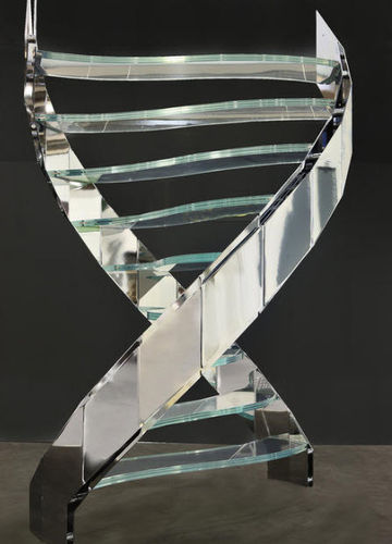 circular staircase with a lateral stringer (metal frame and glass steps) DNA LINE EDILCO