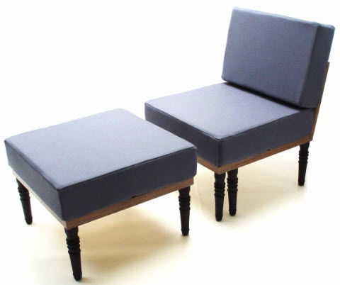 contemporary armchair with footstool Duffy London