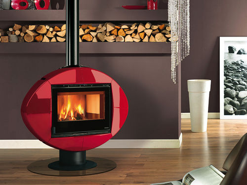 contemporary central wood-burning stove (rotating) ELLIPSE Nordica