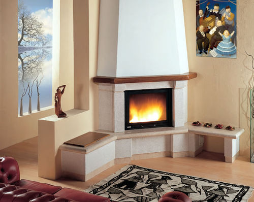 contemporary corner fireplace (wood-burning closed hearth) VEGA Amiata Caminetti