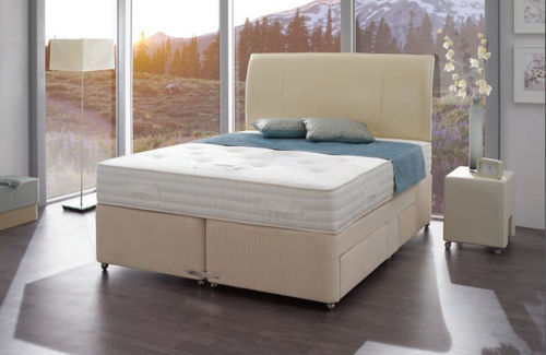 contemporary double bed with casters TEMPSMART : MILLENIUM Dunlopillo