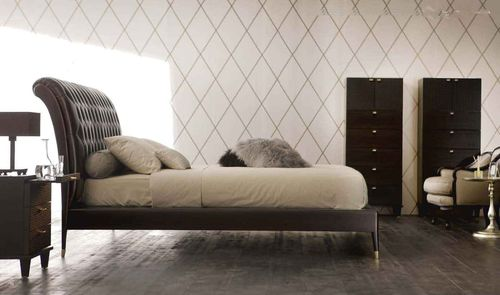 contemporary double bed with headboard upholstered in leather AC-42400-19 Signature Home Collection