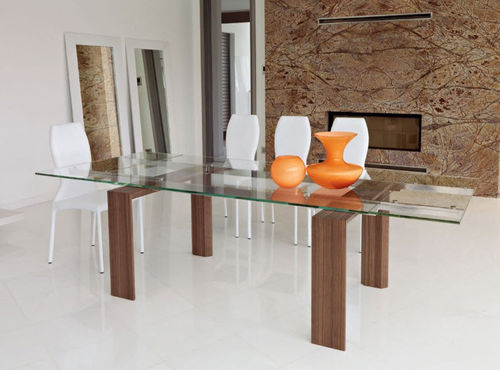 contemporary extending glass table AXEL unico italia