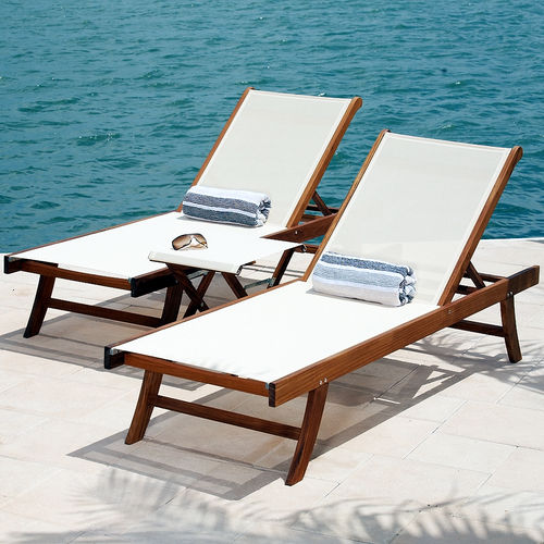 contemporary lounge chair LE SPA TEAK AND TEXTILE LOUNGER Infinita Corporation