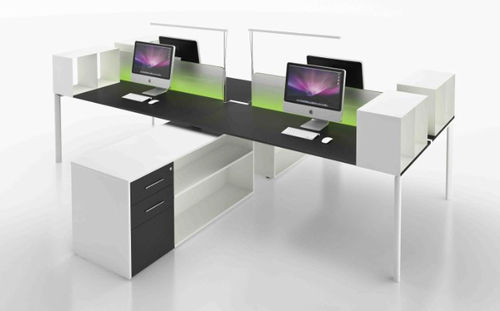 contemporary multiple workstation for open-space YO Uffix Concept by Uffix