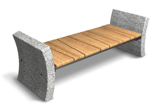contemporary public bench in wood and stone S2 FLOURISH Future City