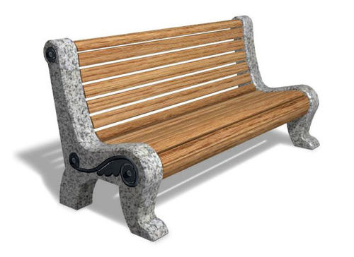 contemporary public bench in wood and stone (with backrest) D18 HERITAGE Future City