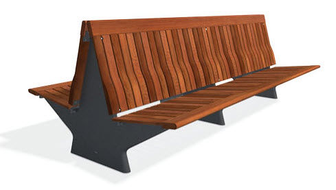 contemporary public double side bench in wood and metal KORO DOBLE 2,60 M by Mangado, Patxi  DAE