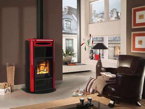 contemporary wood-burning stove (ceramic) CLEO COMBI Nordica