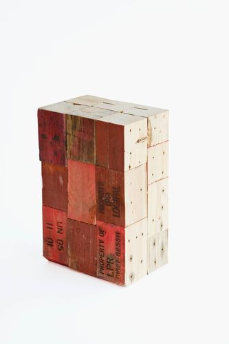 design stool in reclaimed wood PALLET BLOCK STOOL studiomama