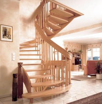 half-turn staircase with a lateral stringer (wooden frame and steps) HGM 336 Schmidt Escaliers