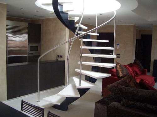 helicoidal staircase with central stringer (metal frame and wooden steps) MARCO POLO G555 essegi scale
