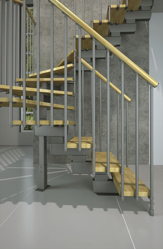 kit-set half-turn staircase with central stringer TECH MisterSTEP