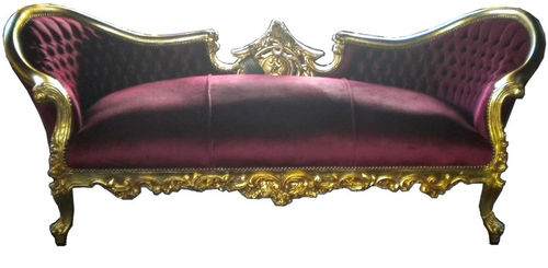 new baroque design sofa VAMPIRE BORDEAUX / GOLD Casa Padrino / Demotex GmbH