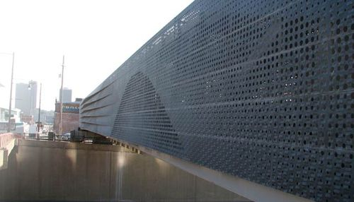 perforated metal sheet facade cladding Power & Light Bridge Zahner