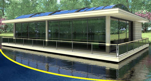 prefab ecological floating house LA JACINTHE BATIFLO