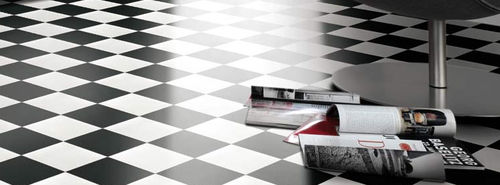 PVC flooring for domestic use TURBO : DAMIER BLACK & WHITE Gerflor - Residential Flooring