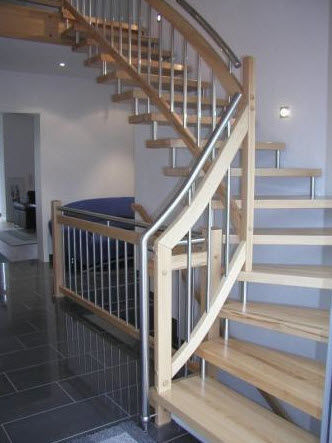 quarter-turn floating staircase (metal frame and wood steps) BBT 220 Schmidt Escaliers