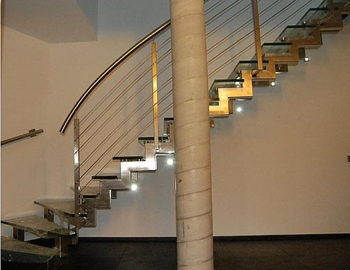 quarter-turn staircase with a lateral stringer (stainless steel frame and glass steps) ATRIUM PROFILO GLASS Atrium