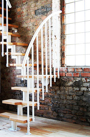 quarter-turn staircase with modular central modular stringer (metal frame and wood steps) ATRIUM MINI MILANO BIANCO Atrium