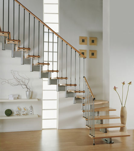 quarter-turn staircase with modular central modular stringer (metal frame and wood steps) MODULA SYSTEMA