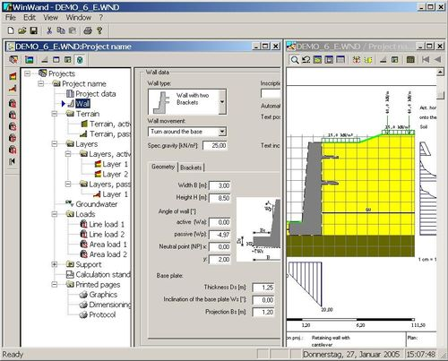 retaining walls calculation software WINWAND IDAT