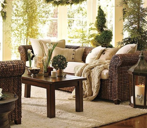 rustic traditional style sofa SEAGRASS POTTERYBARN