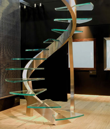 spiral design staircase (glass steps) by Etelvina Matos ESSEMME
