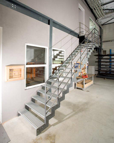 straight staircase with a lateral stringer for commercial buildings (metal frame and steps) Kevala Stairs Limited