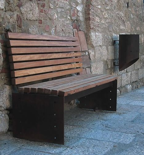 traditional public bench in wood and metal (with backrest) ESSEMME