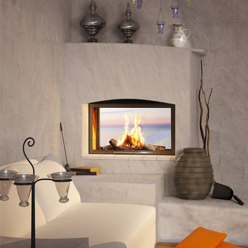 wood-burning closed hearth for double-sided fireplaces RECTO VERSO HORIZON TOTEM fire
